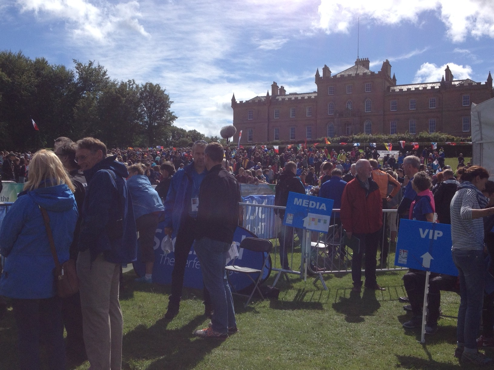 Crowds getting ready to watch the Relay in front of Darnaway Castle, Moray
