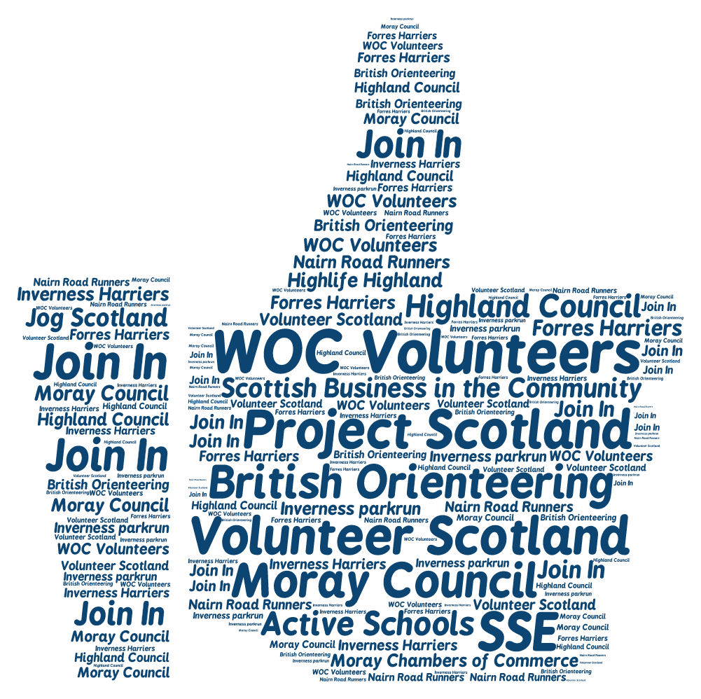 Volunteers came from orienteering clubs all over the UK and beyond, from local running clubs and parkrun, Volunteer Scotland, Glasgow 2014 and all of the organisations shown above